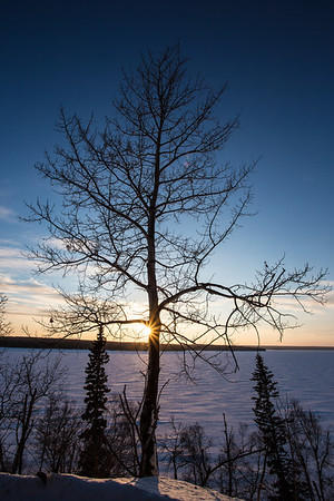 Sunset over Frozen Lake