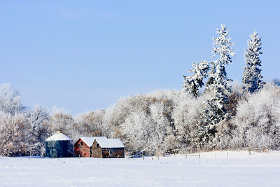 Old farm buildings in Winter