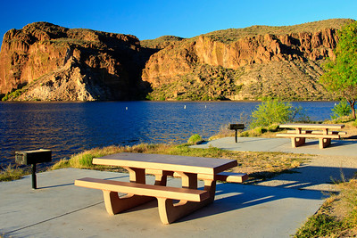 Picnic Tables on Lake