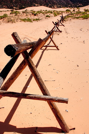 Log Fence at Coral Pink Sand Dunes