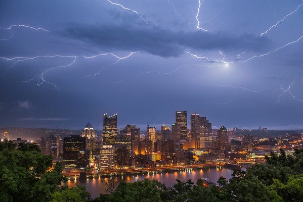 """""""Electric Epicenter"""" - Pittsburgh, Mount Washington   Recommended Print sizes*:  4x6      8x12     12x18     16x24     20x30     24x36 *When ordering other sizes make sure to adjust the cropping at checkout*  © JP Diroll 2014"""