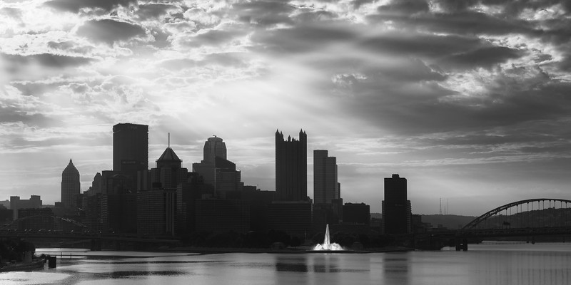 Glowing Fountain West BW End Pittsburgh Sunrise.jpg