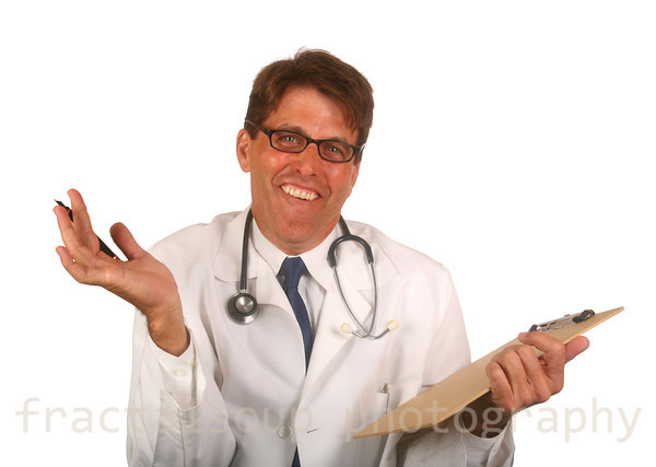 Doctor isolated on white background giving up