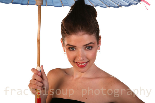 Beautiful Young Woman under a Blue Umbrella