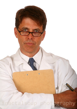 Doctor with Clipboard isolated on white background