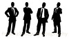 Silhouettes of Business Men in Suits on White Background