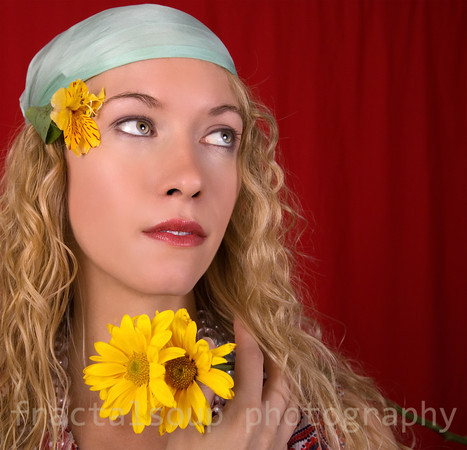 Beautiful Young Woman dressed as Hippie from the 60s