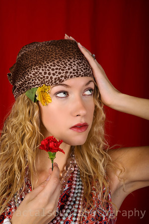 Beautiful Young Woman Dressed as a Hippie