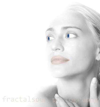 Abstract Beautiful Woman's Face Faded to White Background