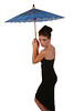 Beautiful Young Woman in Elegant Black Dress and Colorful Umbrella