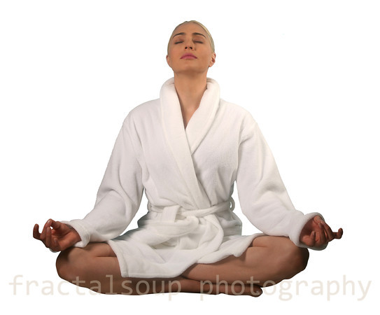 Beautiful Woman in Yoga Pose Isolated on White Background