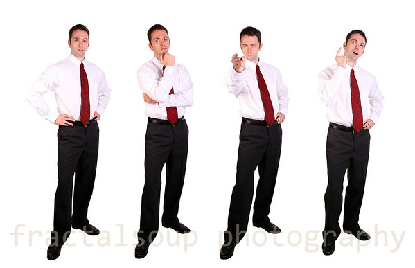 Panel of Four Images of Handsome Businessman Isolated on White Background