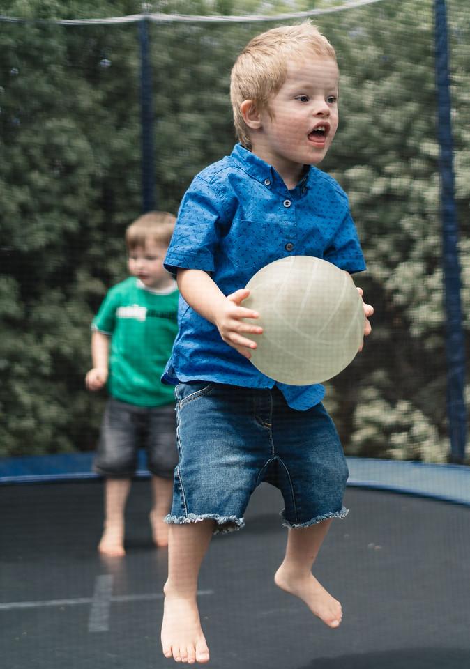 Jumping on a Backyard Trampoline