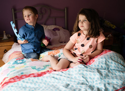 Brother and Sister in Bedroom