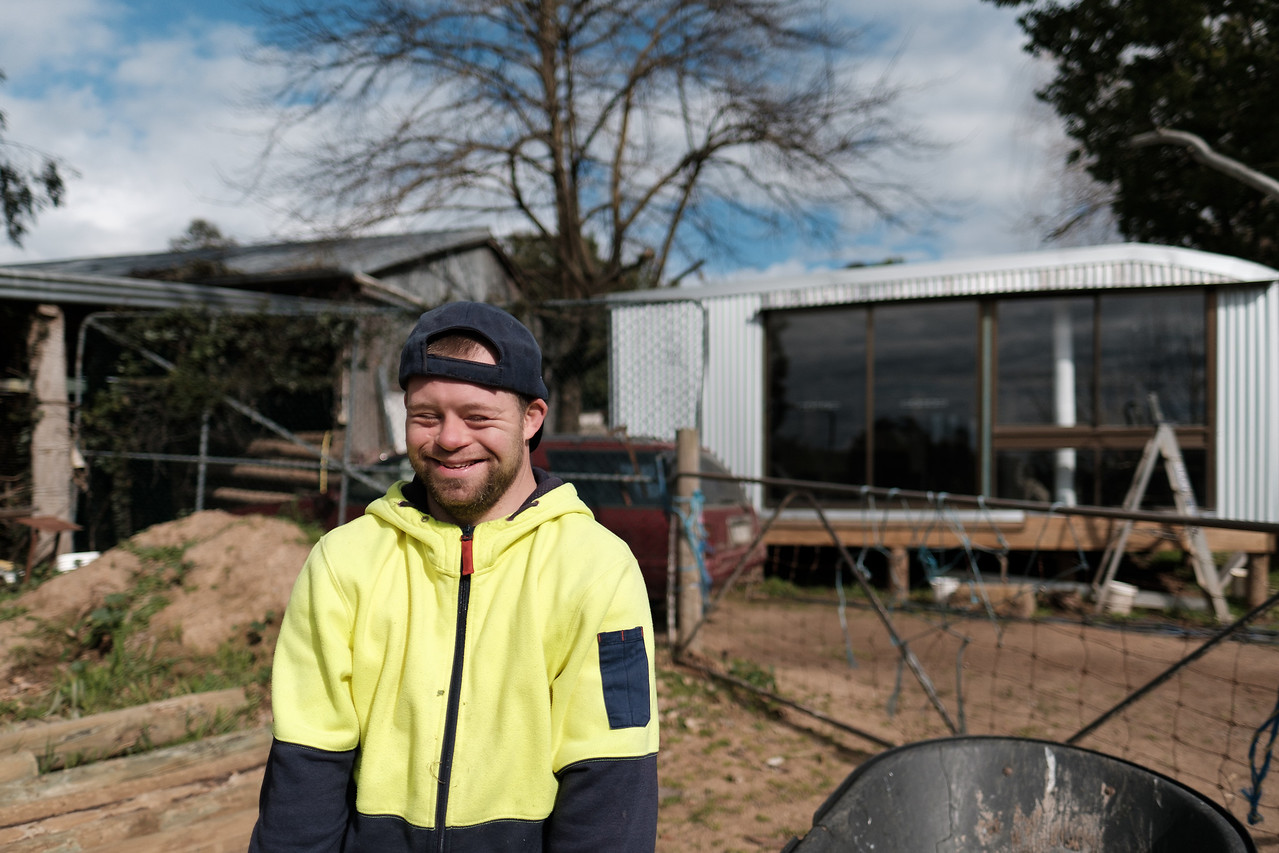 Really Happy young Man on a Farm