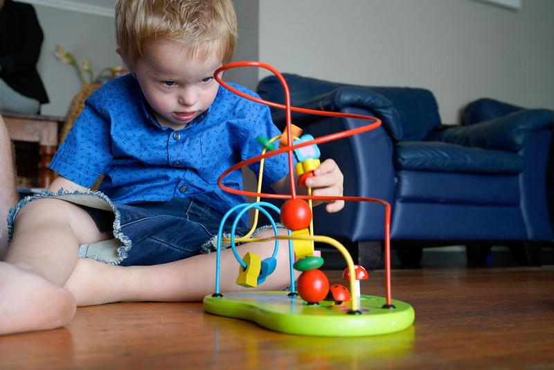 Preschool Boy Concentrating