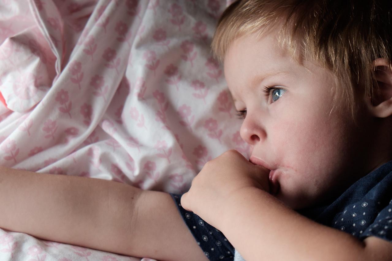 Close up of Child on Bed, Awake