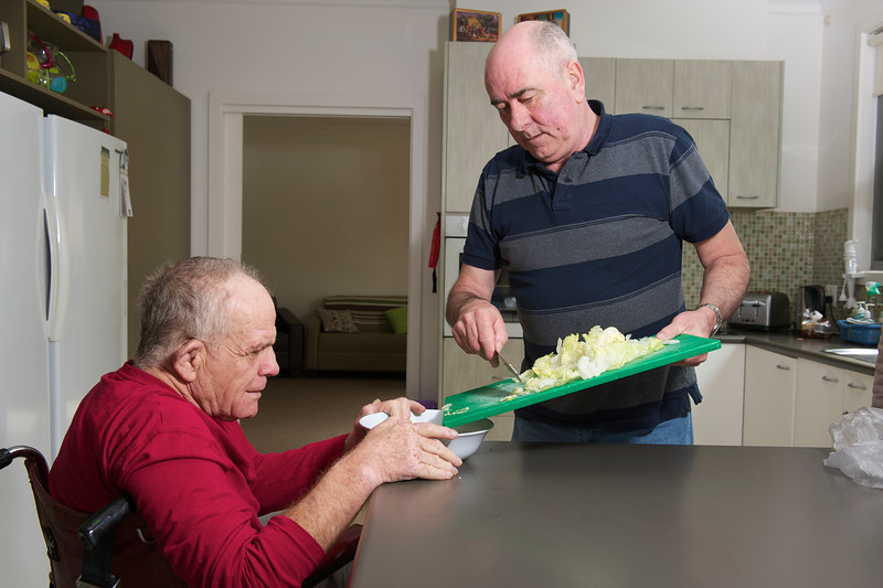 This photo can be used to promote how carers can support people with a disability in activities of daily living