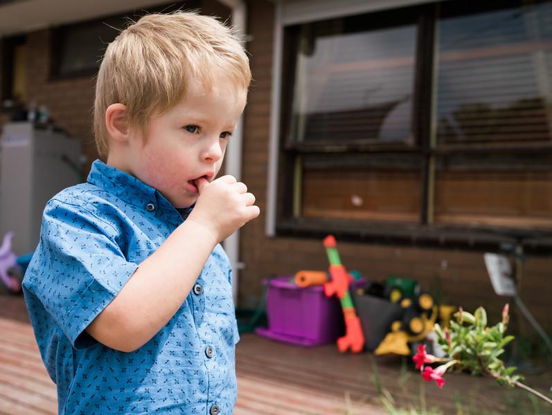 Little Boy in Backyard