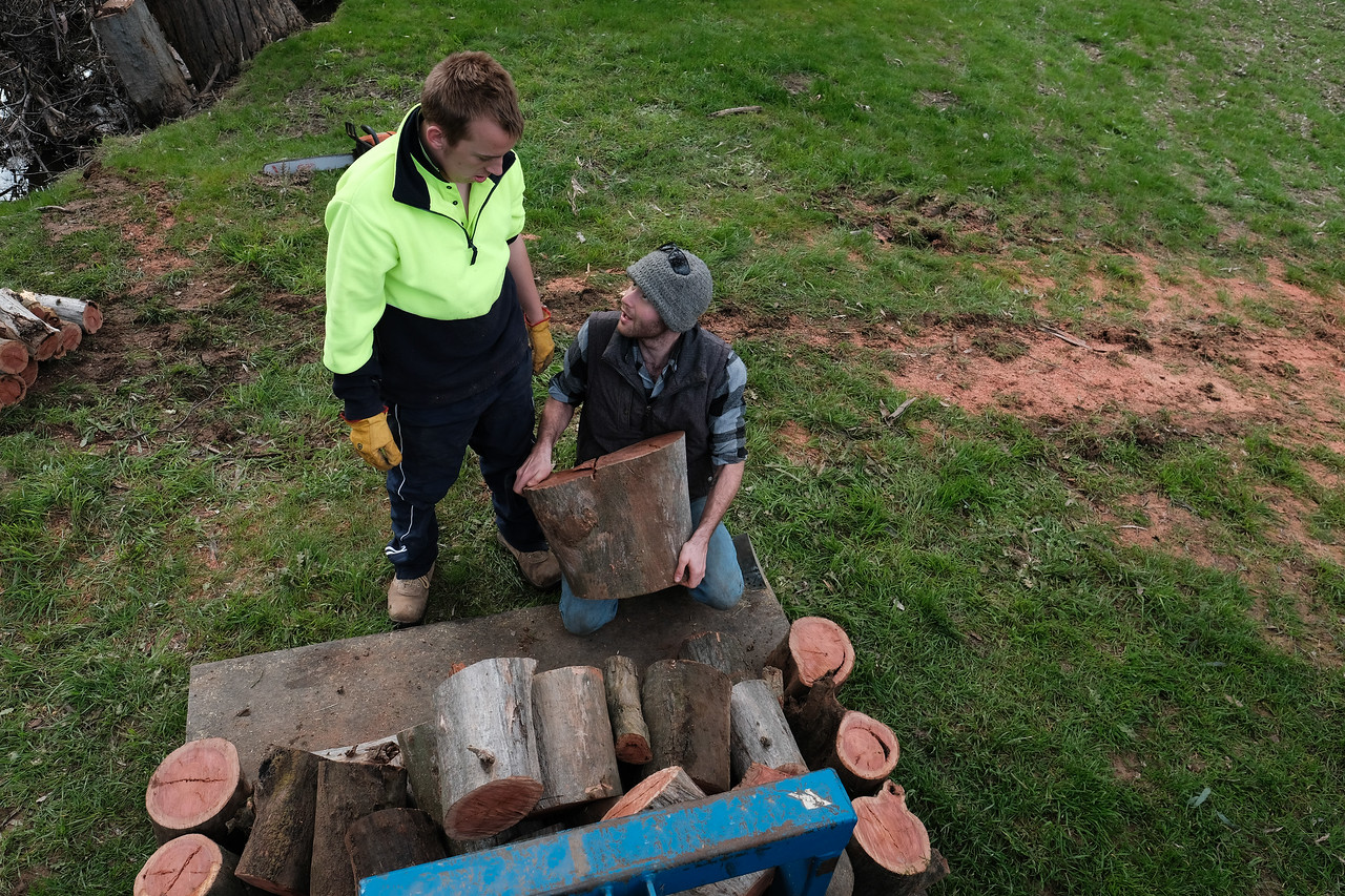 Support Worker showing Man how to Load Wood