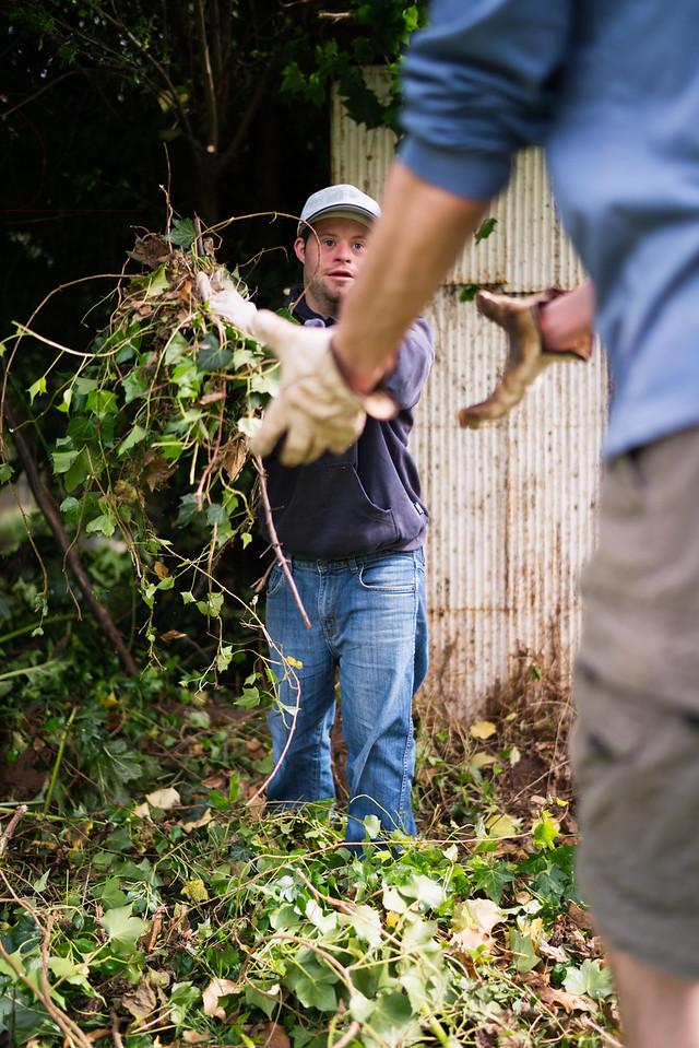 Men working together in a Garden