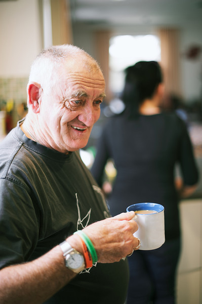 Man with a cup of white tea