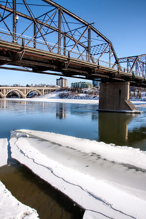 Ice flows on the River in Saskatoon