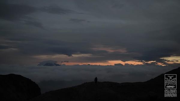 Ecuador, Sierra, Cayambe, montaña, nevado, atardecer, montañista, escalador, deporte, glaciar