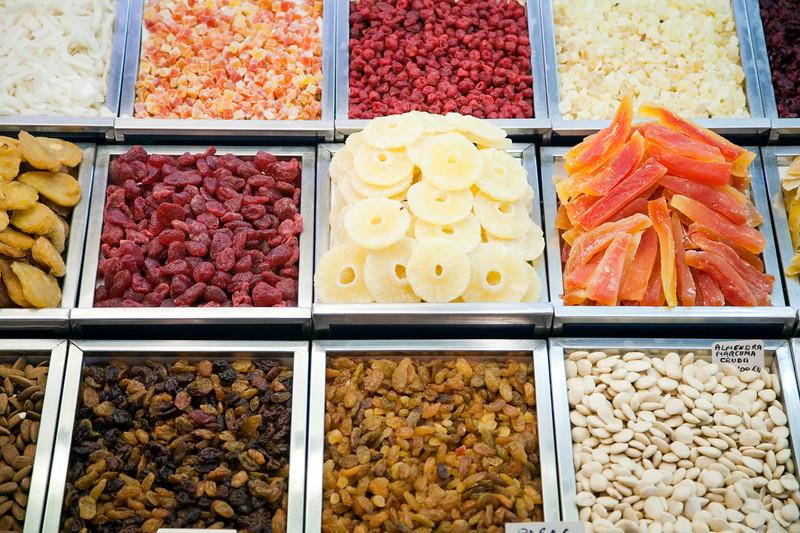 Tidbits and candies, Boqueria market, town of Barcelona, autonomous commnunity of Catalonia, northeastern Spain