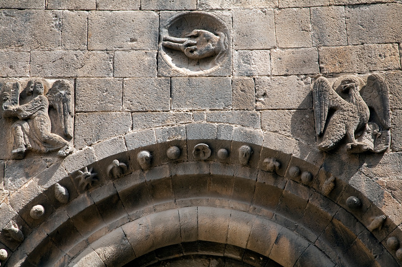 Detail from Sant Pau del Camp monastery, town of Barcelona, autonomous commnunity of Catalonia, northeastern Spain