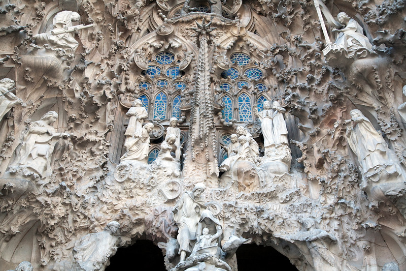 Architectonic detail, Sagrada Familia church (by Gaudi), town of Barcelona, autonomous commnunity of Catalonia, northeastern Spain