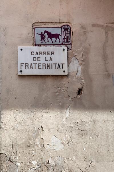 Rótulo de la Calle de la Fraternidad, barrio de Gracia, Barcelona