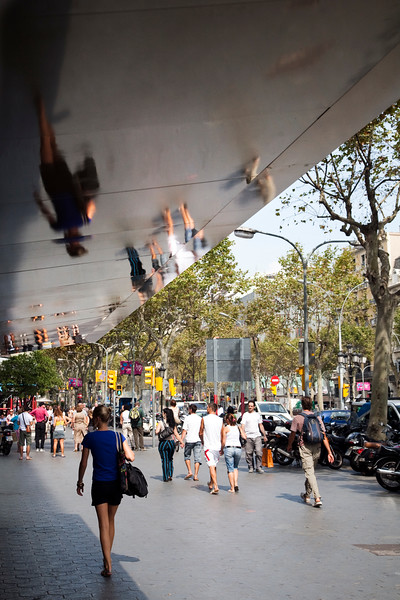 Reflections, Passeig de Gracia street, town of Barcelona, autonomous commnunity of Catalonia, northeastern Spain