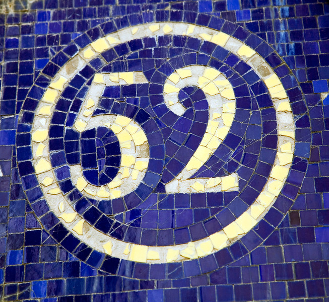 The number 52 made of glazed ceramic tiles, town of Barcelona, autonomous commnunity of Catalonia, northeastern Spain