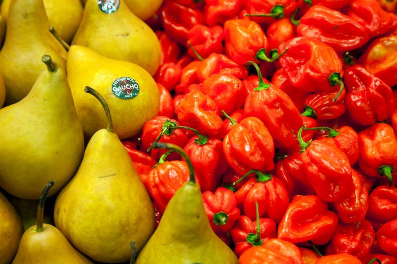 Pears and peppers, Boqueria market, town of Barcelona, autonomous commnunity of Catalonia, northeastern Spain