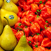 Pears and peppers, Boqueria market, town of Barcelona, autonomous commnunity of Catalonia, northeastern Spain