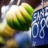 Sign and bananas, Boqueria market, town of Barcelona, autonomous commnunity of Catalonia, northeastern Spain