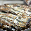 Salt sardines, Boqueria market, town of Barcelona, autonomous commnunity of Catalonia, northeastern Spain