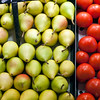 Pears and tomatoes, Boqueria market, town of Barcelona, autonomous commnunity of Catalonia, northeastern Spain
