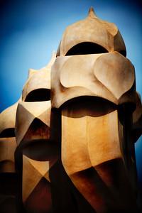 Chimeneas, Casa Milà (La Pedrera), obra de Gaudí, paseo de Gracia, Barcelona