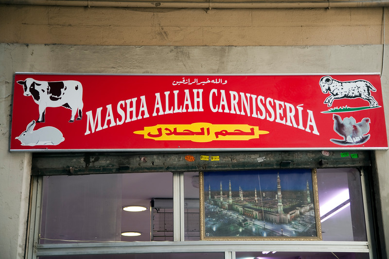 Islamic butcher's shop, Raval quarter, town of Barcelona, autonomous commnunity of Catalonia, northeastern Spain
