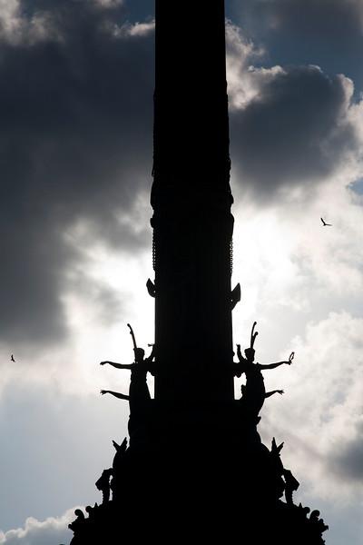 Columbus monument, seaport of Barcelona, autonomous commnunity of Catalonia, northeastern Spain