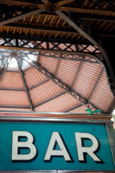 Bar sign, Sant Antoni market, town of Barcelona, autonomous commnunity of Catalonia, northeastern Spain