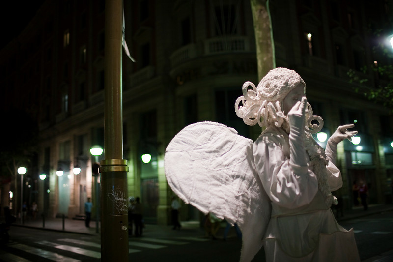 Street performes on Las Ramblas, town of Barcelona, autonomous commnunity of Catalonia, northeastern Spain