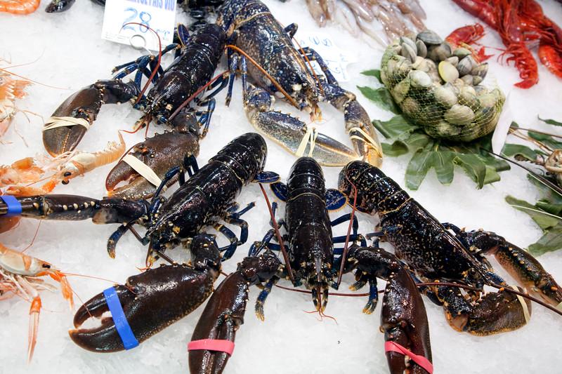 Lobsters, Boqueria market, town of Barcelona, autonomous commnunity of Catalonia, northeastern Spain