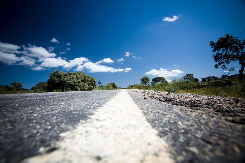 Road line, province of Caceres, Spain