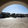 Arcade, main square or plaza mayor of Garrovillas de Alconetar, Caceres, Extremadura, Spain