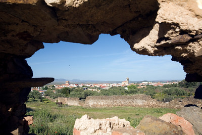 The town of Garrovillas de Alconetar (Caceres, Extremadura, Spain), as seen through a hole on the wall of the abandoned convent of San Antonio
