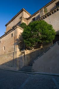 Side view of the church of Santa Maria de Almocovar, built over a former mosque, town of Alcantara, province of Caceres, autonomous community of Extremadura, southwestern Spain