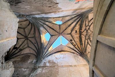 Gothic vaults of the abandoned convent of San Antonio de Padua, Garrovillas, Caceres, Extremadura, Spain